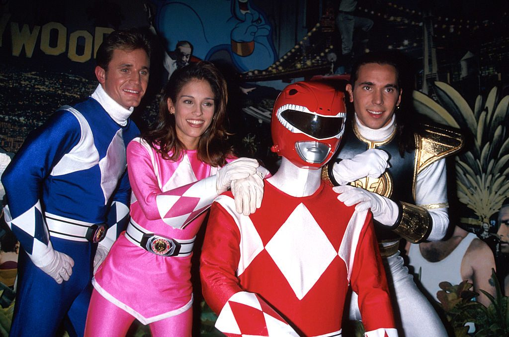 (L-R) Actors David Yost, Amy Jo Johnson and Jason David Frank costumed as 'Power Rangers' circa 1995