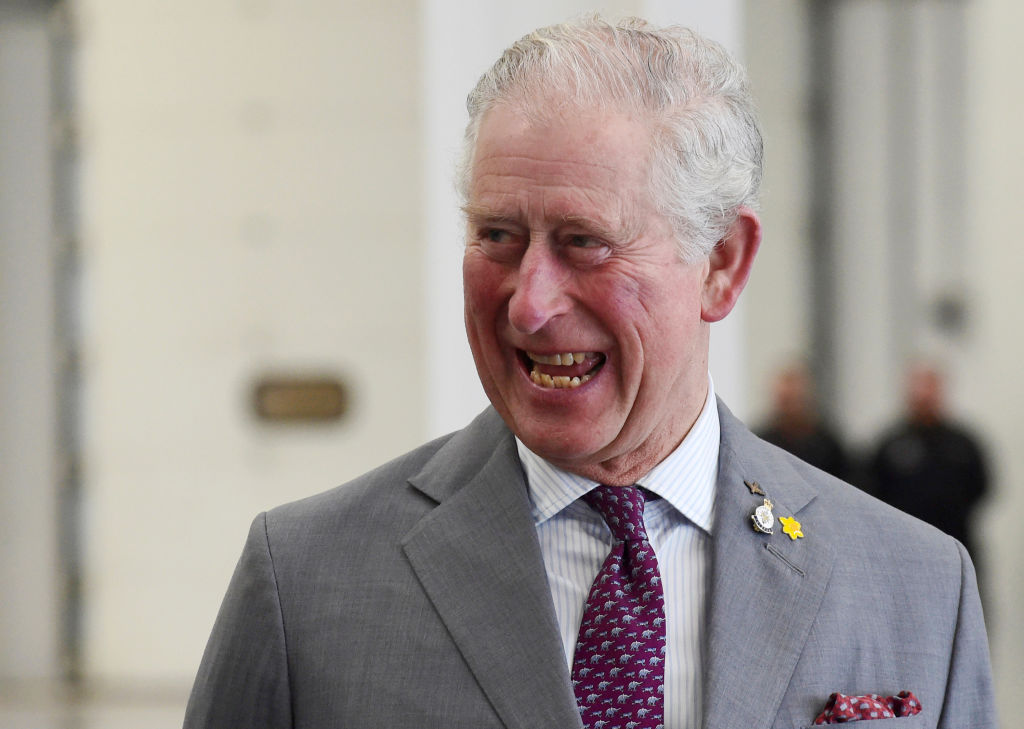 Prince Charles smiling, wearing a gray suit