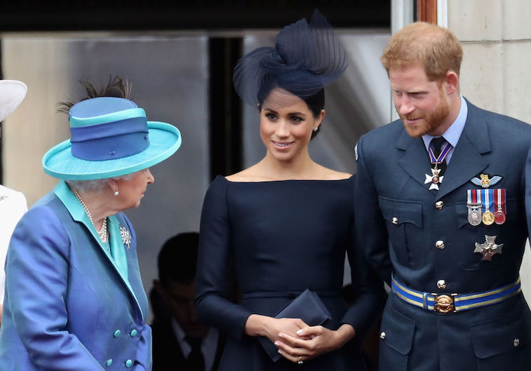 Prince Harry and Meghan Markle with Queen Elizabeth