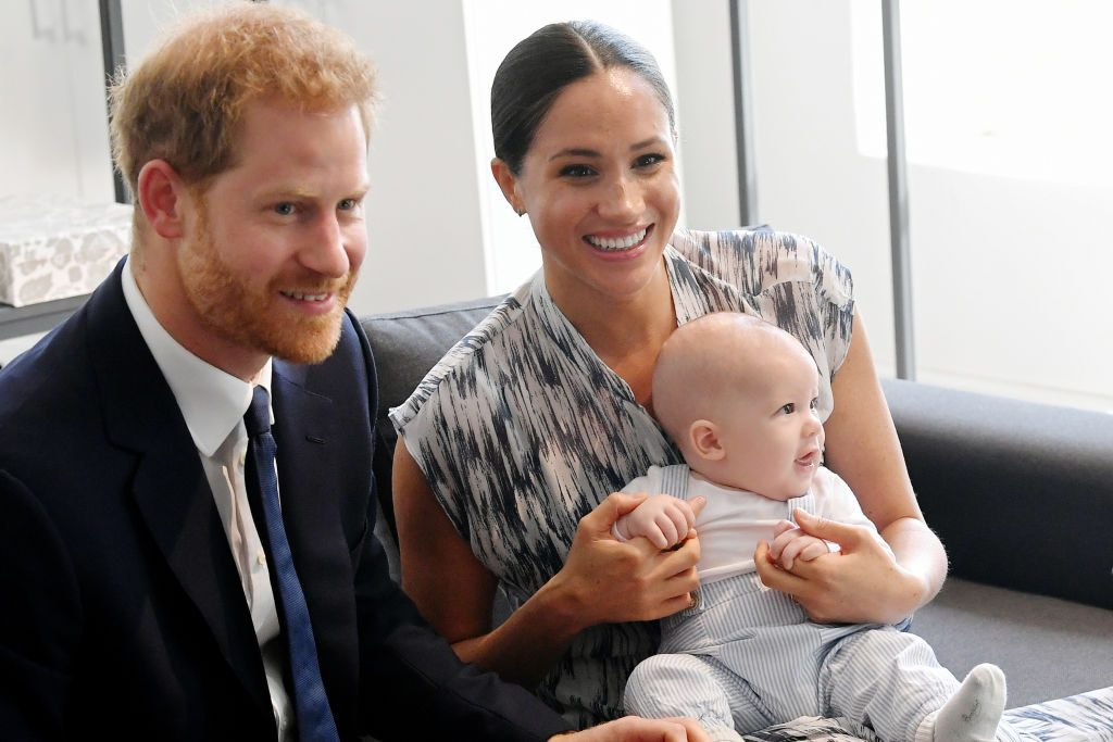 Prince Harry and Meghan Markle and their baby son Archie Mountbatten-Windsor meet Archbishop Desmond Tutu and his daughter Thandeka Tutu-Gxashe