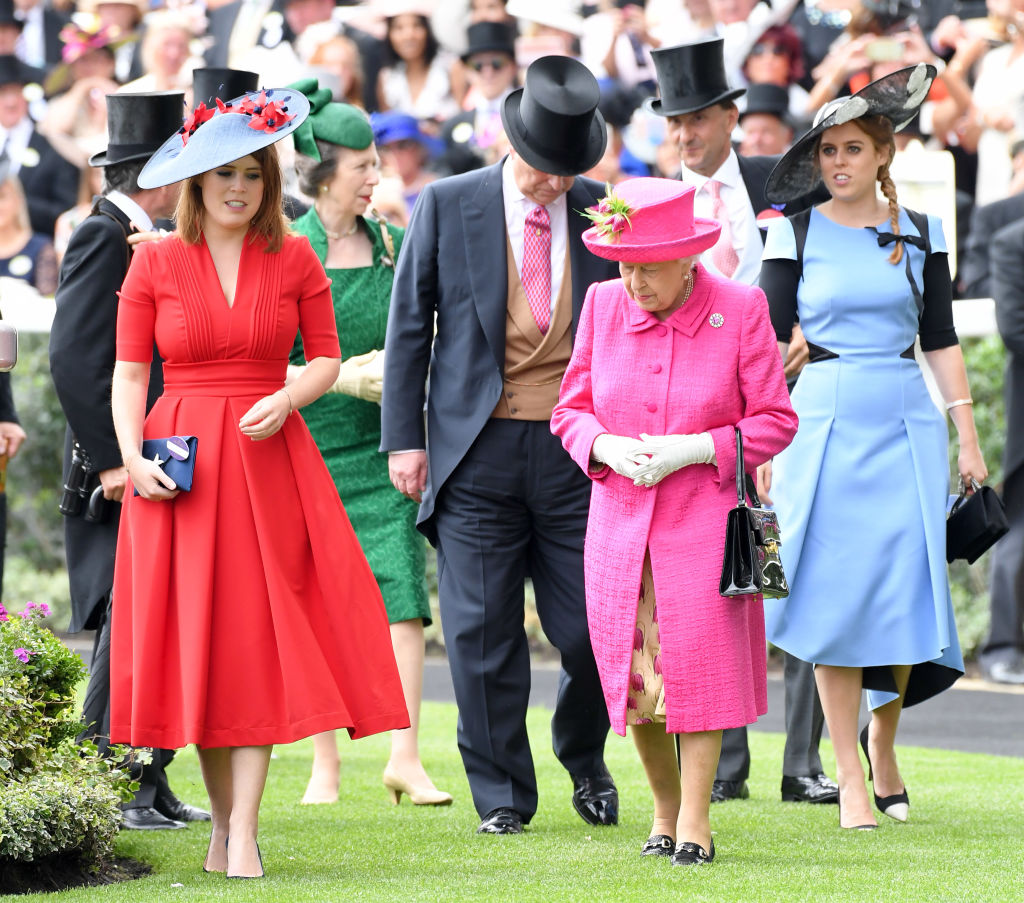 Princess Eugenie, Queen Elizabeth, and Princess Beatrice