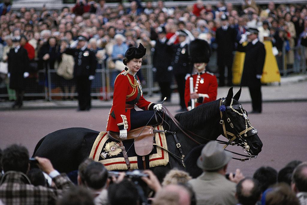 Queen Elizabeth riding Burmese