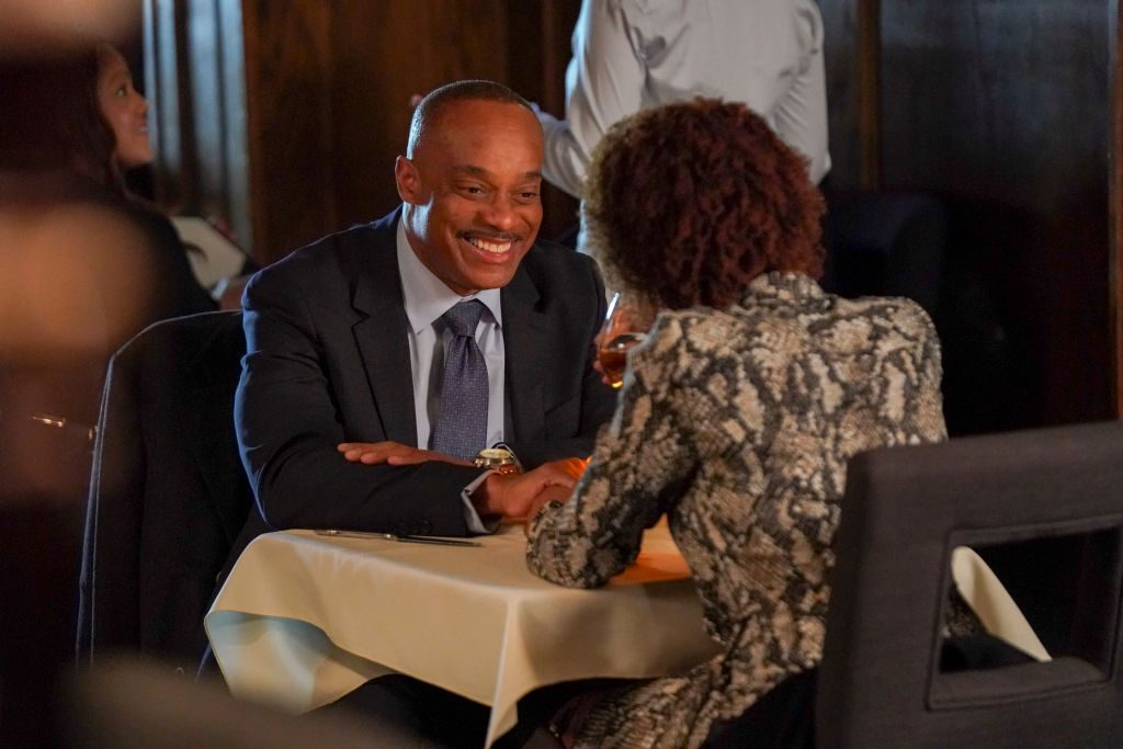 Rocky Carroll and Dionne Gipson on the set of NCIS | Sonja Flemming/CBS via Getty Images