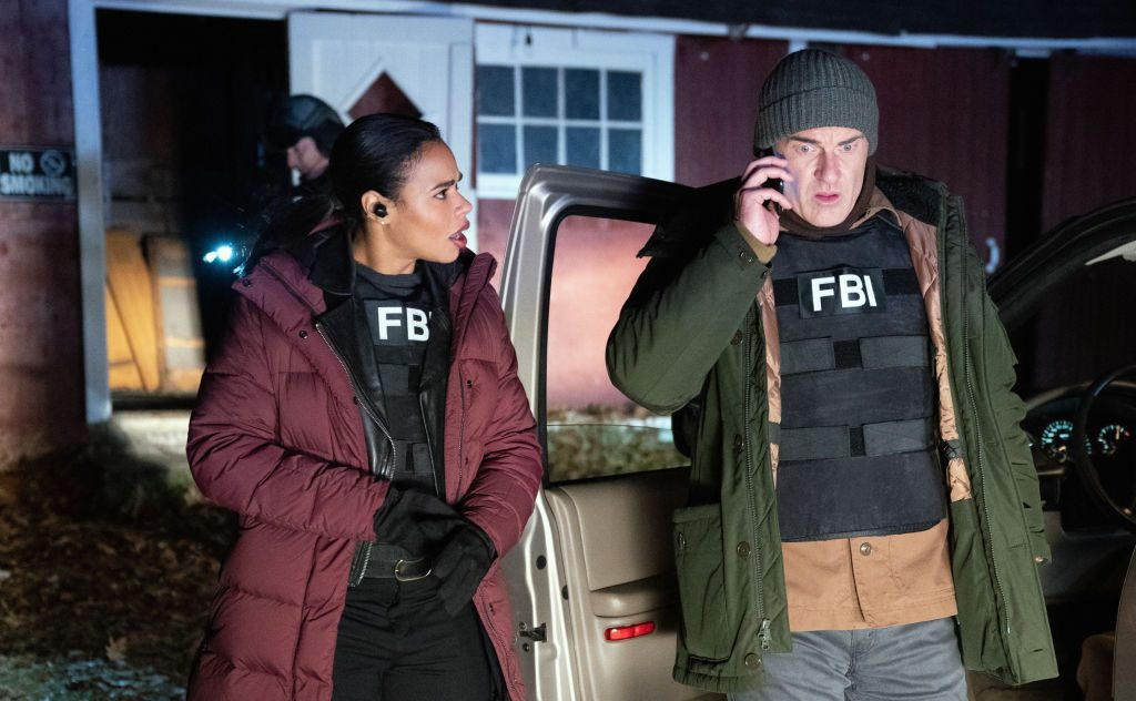 Pictured (L-R) Roxy Sternberg as Sheryll Barnes, and Julian McMahon as Jess LaCroix  on FBI | Mark Schafer/CBS via Getty Images