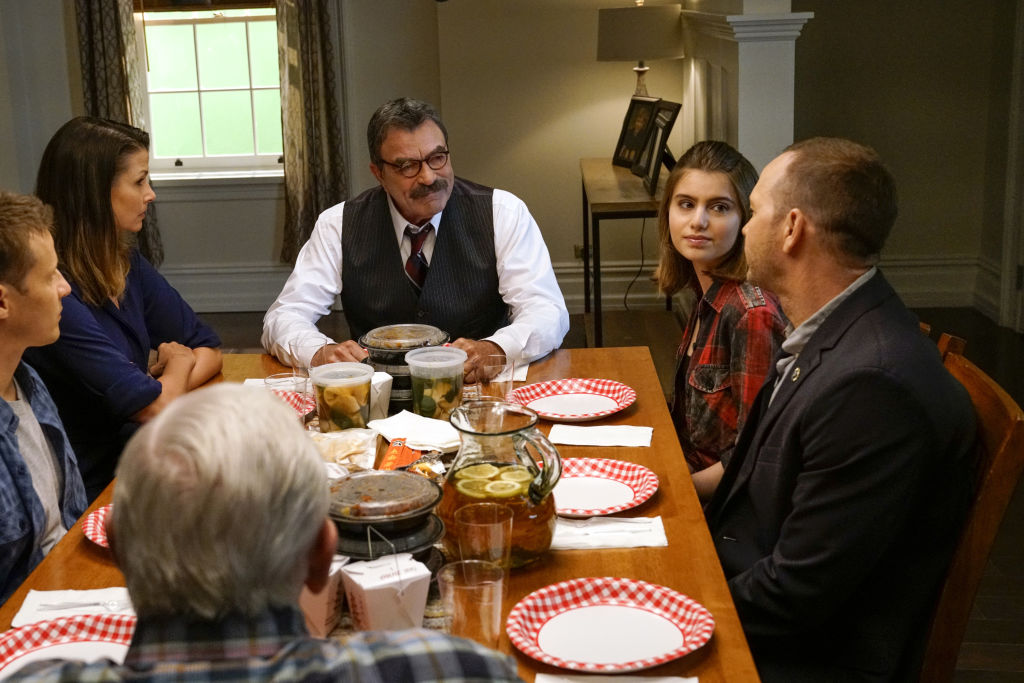 Sami Gayle during Blue Bloods family dinner