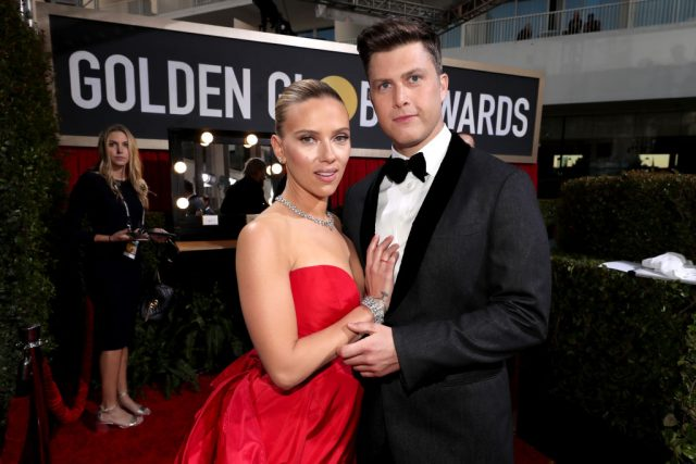 Scarlett Johansson and Colin Jost attend the 77th Annual Golden Globe Awards on Jan. 5, 2020