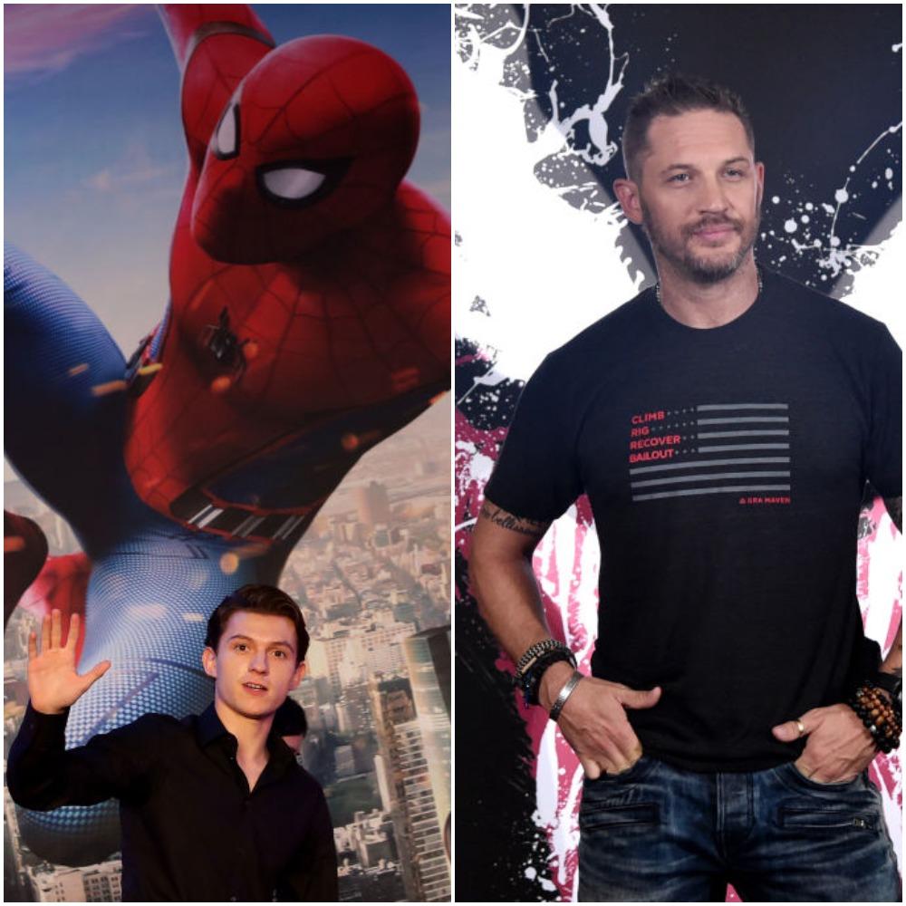 Tom Holland Spider-Man MCU and Tom Hardy Venom Sony