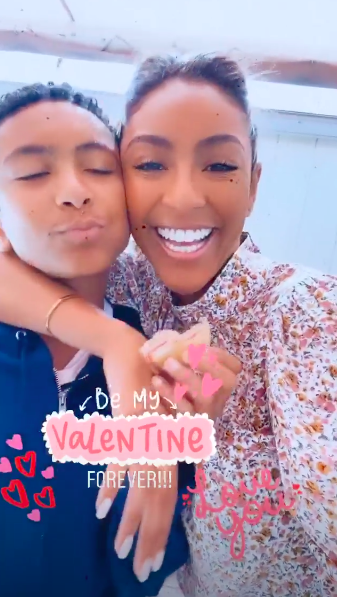 Tayshia Adams and her brother on Valentine's Day