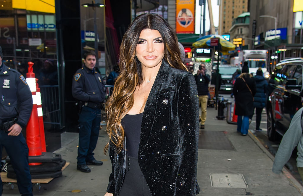 Teresa Giudice is seen arriving to 'Good Morning America' in Times Square