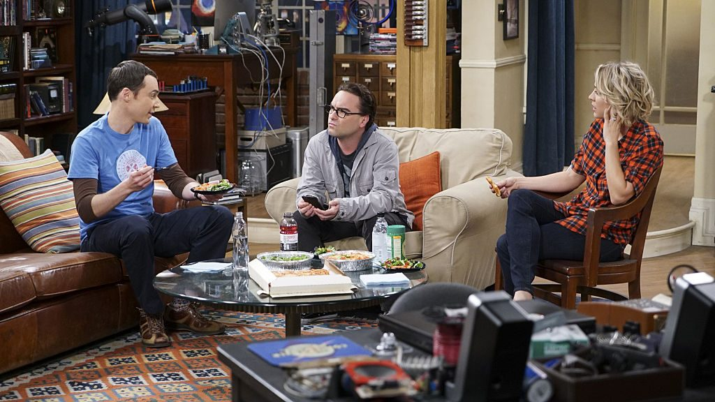 Jim Parsons as Sheldon Cooper, Johnny Galecki as Leonard Hofstader and Kaley Cuoco as Penny