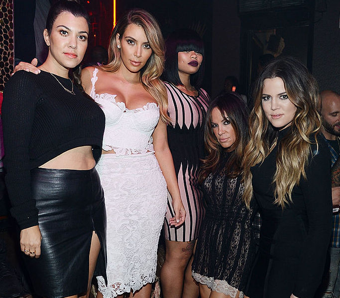 rtney Kardashian, Kim Kardashian West, Blac Chyna, Robin Antin, and Khloé Kardashian at a party in 2013 in Las Vegas, Nevada