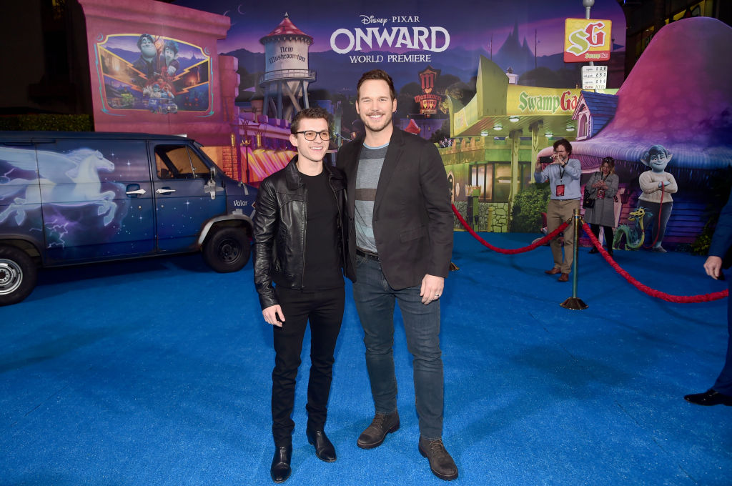 Tom Holland and Chris Pratt attend the world premiere of Disney and Pixar's ONWARD