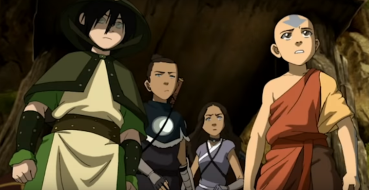Toph, Sokka, Katara, and Aang of Avatar: The Last Airbender