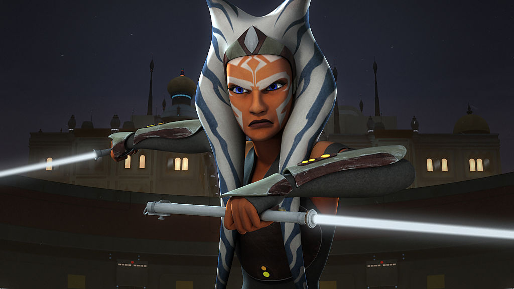 "Ahsoka Tano wields her double lightsabers in 'Star Wars Rebels,' Episode ""The Future of the Force."""
