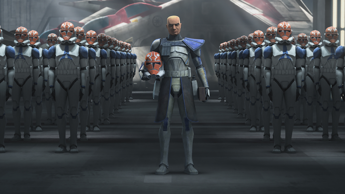 Half of the 501st Legion with armor that honors their commander, Ahsoka Tano, 'The Clone Wars' Season 7.