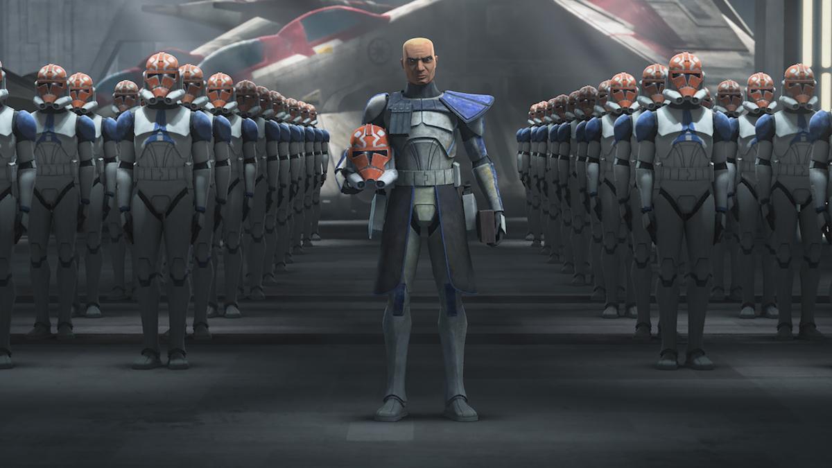 Half of the 501st Legion with armor that honors their commander, Ahsoka Tano, 'The Clone Wars' Season 7.