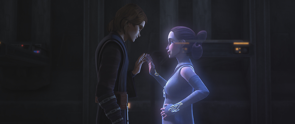 Anakin and Padmé during their secret holochat meeting in Episode 2, 'The Clone Wars.'