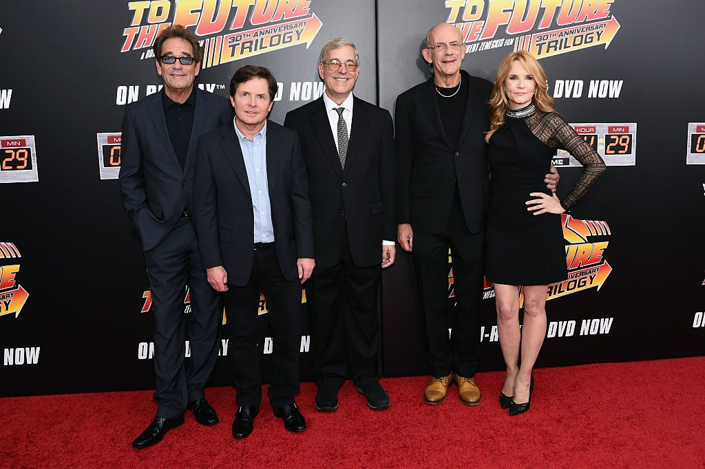 Huey Lewis, Michael J. Fox, Bob Gale, Christopher Lloyd, and Lea Thompson attend the Back to the Future reunion