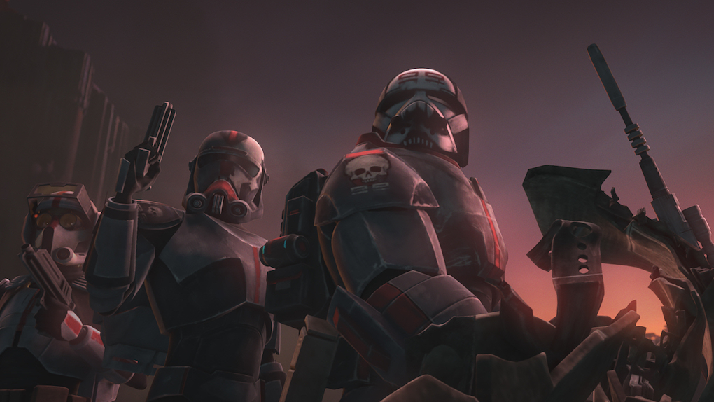 A still from 'The Clone Wars' Season 7 showing the Bad Batch squad.