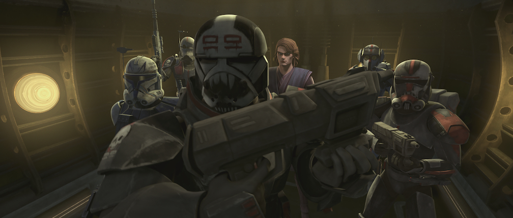 The Bad Batch, Rex, and Anakin as they infiltrate the Separatist compound on Skako Minor.