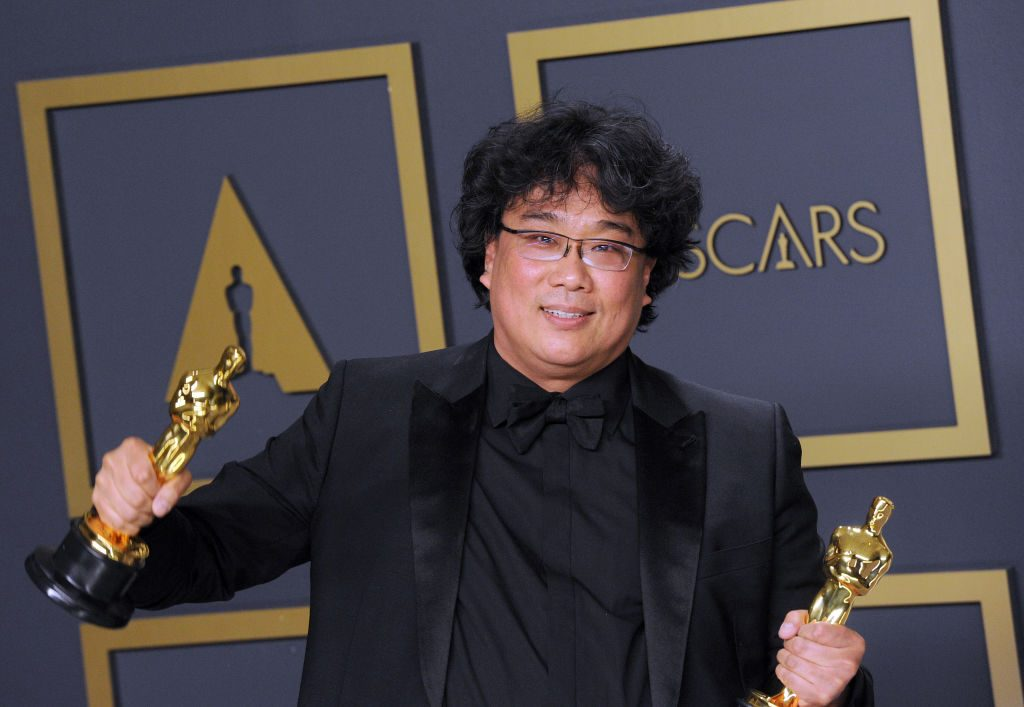 Bong Joon-ho poses at the 92nd Annual Academy Awards on February 9, 2020