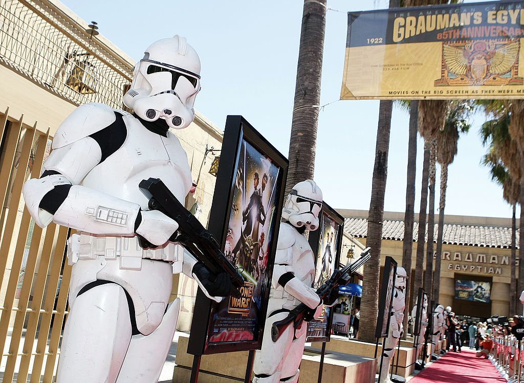 Clone troopers pose at the premiere of 'Star Wars: The Clone Wars' on August 10, 2008.