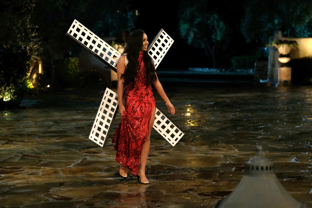 Deandra Kanu made her first appearance to Bachelor Peter Weber dressed as a windmill.