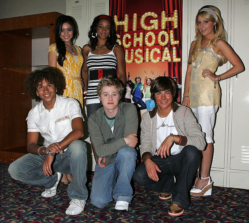 The cast of 'High School Musical' — Vanessa Hudgens, Monique Coleman, Ashley Tisdale, Corbin Bleu, Lucas Grabeel, and Zac Efron — at a Q&A session for the film on May 4, 2006.