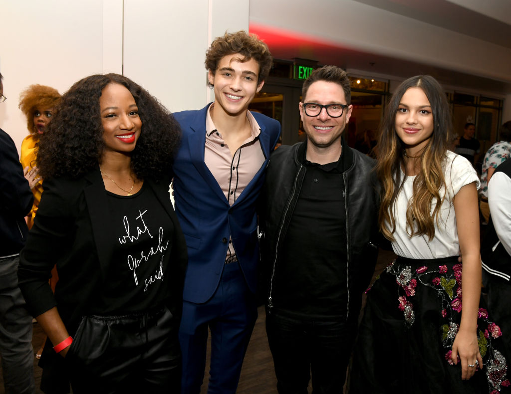 Monique Coleman, Joshua Bassett, Tim Federle, and Olivia Rodrigo pose at the after-party for the premiere of Disney+'s 'High School Musical: The Musical: The Series.'