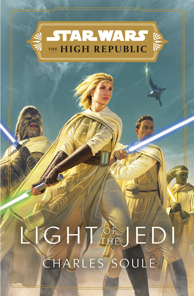 The 'Star Wars: High Republic: Light of the Jedi' book cover, a part of Project Luminous. Burryaga Agaburry, a Wookie Jedi, is seen here.