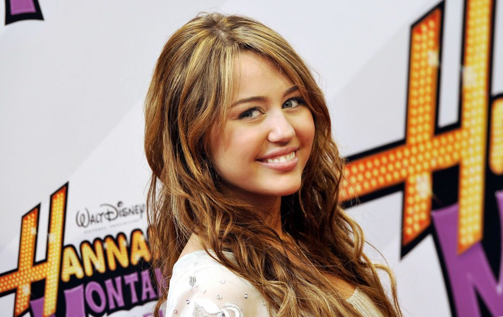 Miley Cyrus on the red carpet for the film 'Hannah Montana - The Movie'