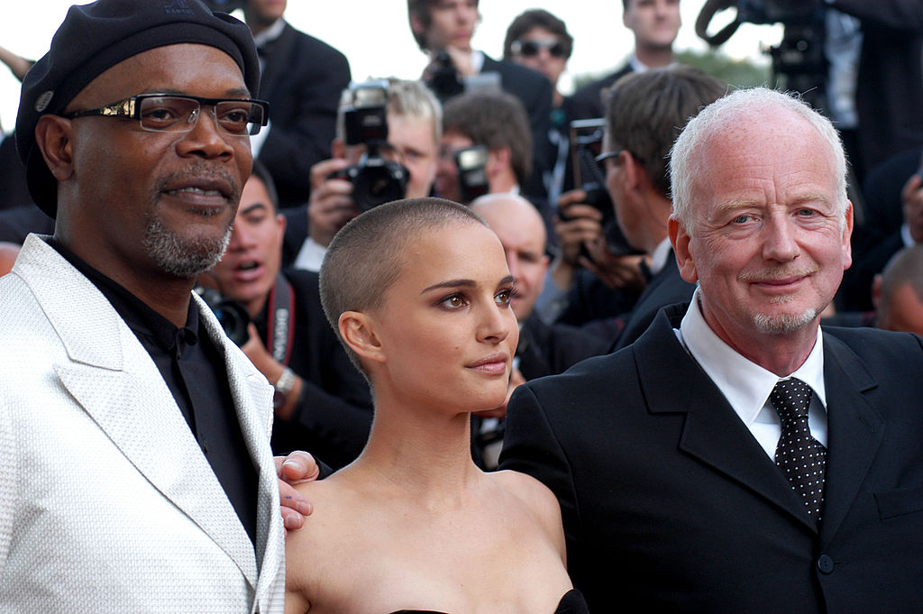 Samuel L. Jackson (Mace Windu), Natalie Portman (Padmé Amidala), and Ian McDiarmid (Chancellor Palpatine) during the 2005 Cannes Film Festival 'Star Wars Episode III - Revenge of the Sith' Premiere.