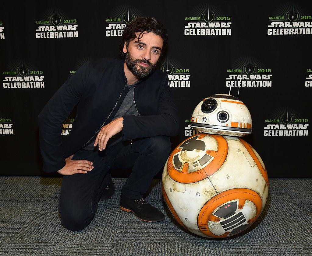 Oscar Isaac at Star Wars Celebration 2015 with BB-8.