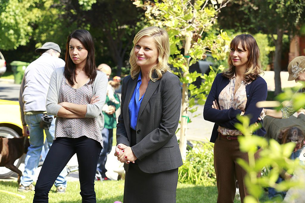 Aubrey Plaza as April Ludgate, Amy Poehler as Leslie Knope, and Rashida Jones as Ann Perkins in an episode of 'Parks and Recreation'