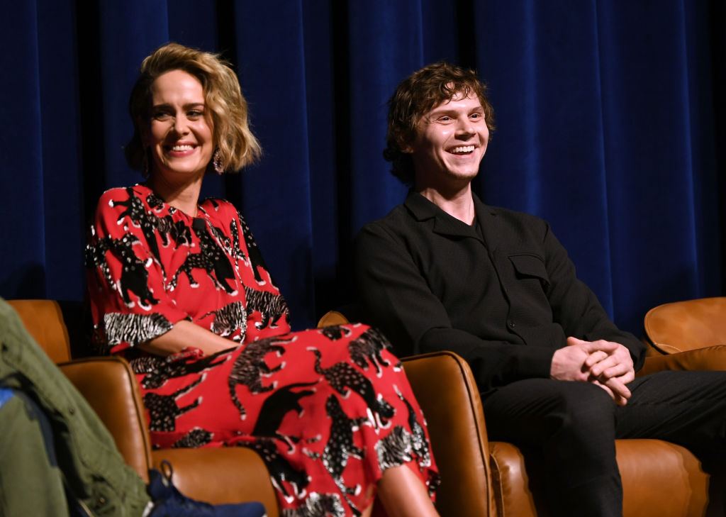 Sarah Paulson and Evan Peters onstage at the 'American Horror Story: Cult' For Your Consideration Event at The WGA Theater on April 6, 2018.