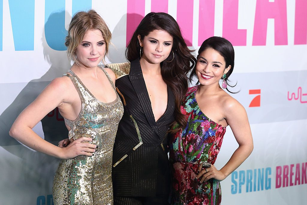 (L-R) Ashley Benson, Selena Gomez and Vanessa Hudgens attend the 'Spring Breakers' Germany premiere on February 19, 2013 in Berlin, Germany.