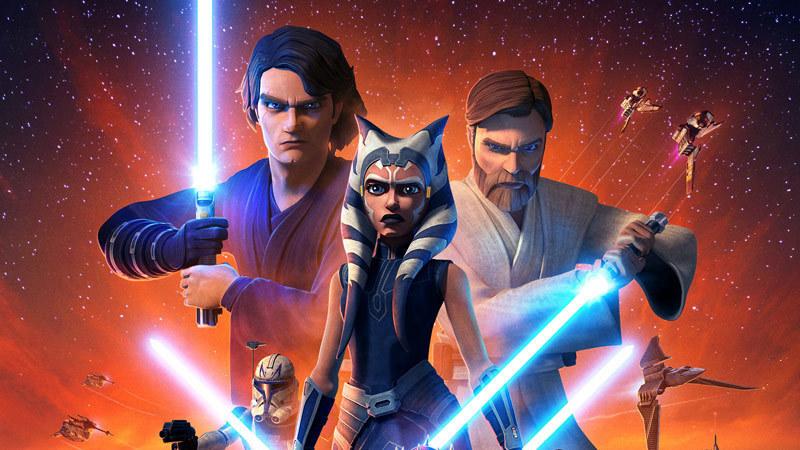 Anakin Skywalker, Ahsoka Tano, and Obi-Wan Kenobi on the poster for 'The Clone Wars' Season 7.