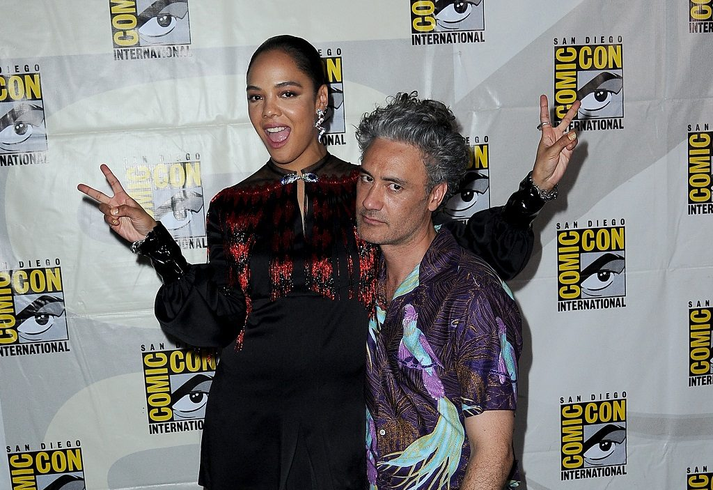 Tessa Thompson and Taika Waititi attend the Marvel Studios Panel during 2019 Comic-Con International
