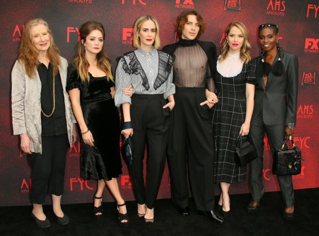 Frances Conroy, Billie Lourd, Sarah Paulson, Cody Fern, Leslie Grossman, and Adina Porter at the FYC red carpet for FX's 'American Horror Story: Apocalypse.'