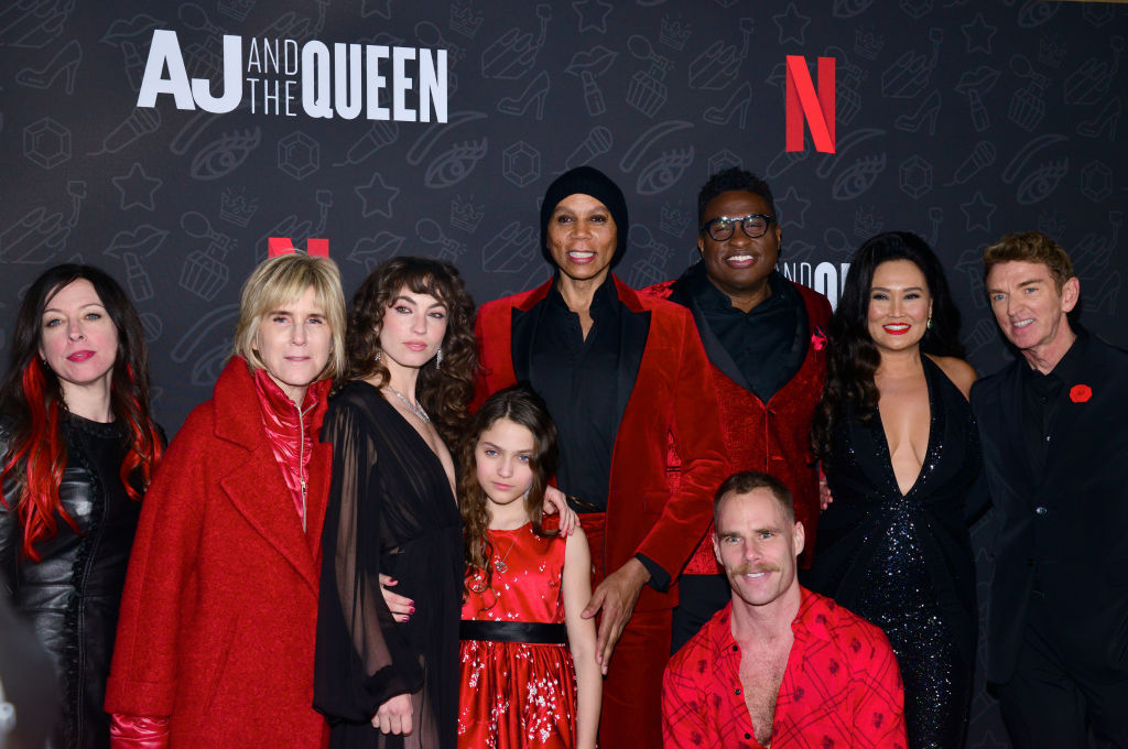 "Marsy Robinson, Jhoni Marchinko, Katerina Tannenbaum, Izzy G., RuPaul, Michael-Leon Wooley, Matthew Wilkas, Tia Carrere, and Michael Patrick King of Netflix's ""AJ and the Queen"""