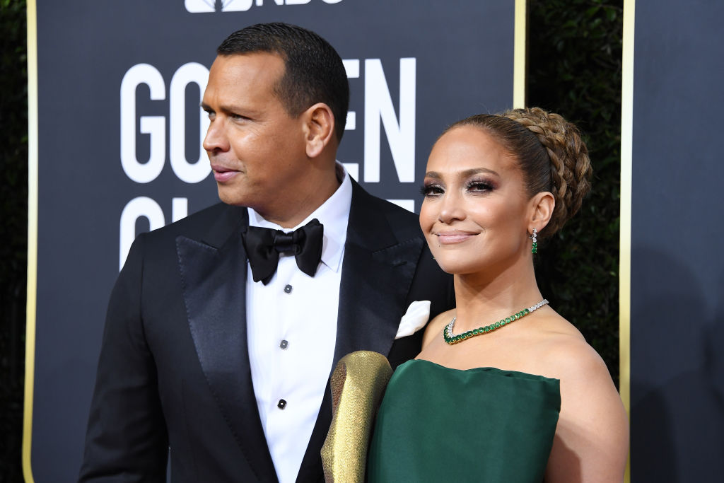 Alex Rodriguez and Jennifer Lopez on the red carpet at an award show in January 2020