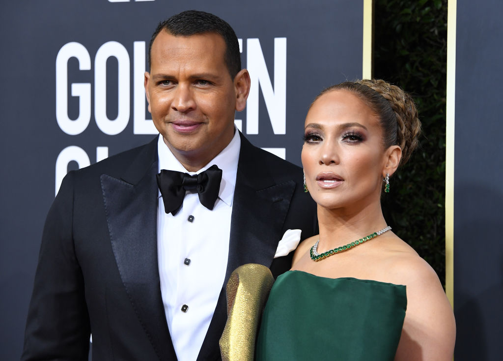 Jennifer Lopez and Alex Rodriguez on the red carpet in January 2020