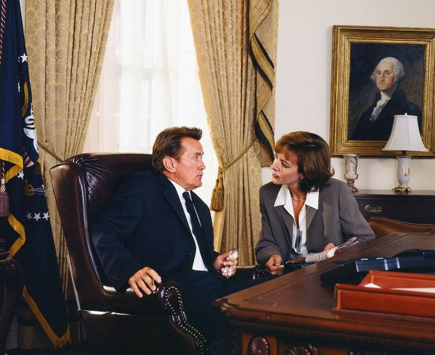 """Martin Sheen as President Josiah """"Jed"""" Bartlet and Allison Janney as C.J. Cregg on 'The West Wing'"""