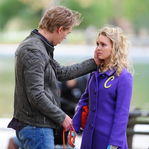 Austin Butler and AnnaSophia Robb on the set of 'The Carrie Diaries' on Nov. 6, 2013