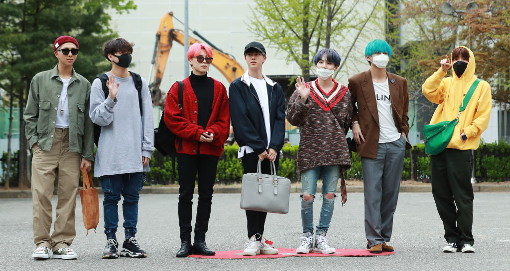 """BTS group shot before rehearsals for KBS 2TV's """"Music Bank"""""""