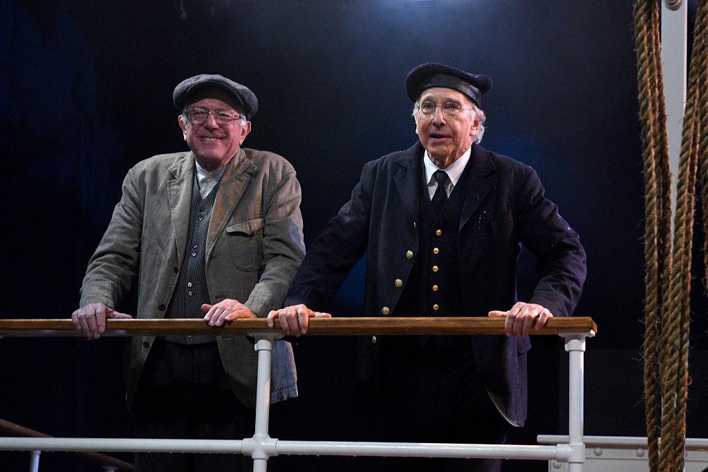 "Senator Bernie Sanders and Larry David during the ""Steam Ship"" sketch"