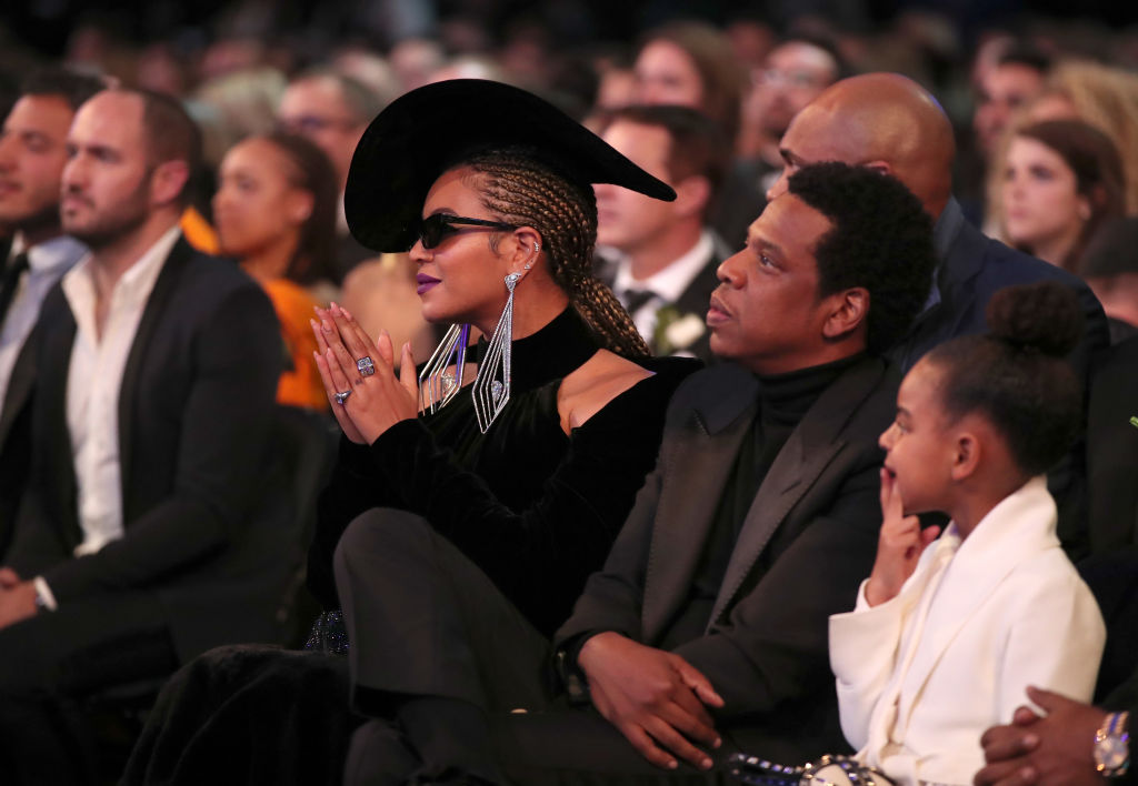 Recording artists Beyoncé, Jay-Z and daughter Blue Ivy Carter attend the 60th Annual GRAMMY Awards
