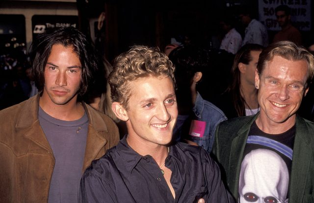 Keanu Reeves, Alex Winter, and William Sadler at the 'Bill & Ted's Bogus Journey' premiere