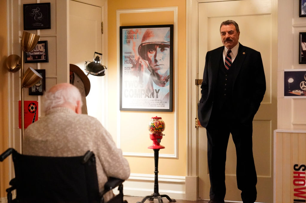 Tom Selleck as Frank Reagan, Ed Asner as Chuck Kennedy on 'Blue Bloods'