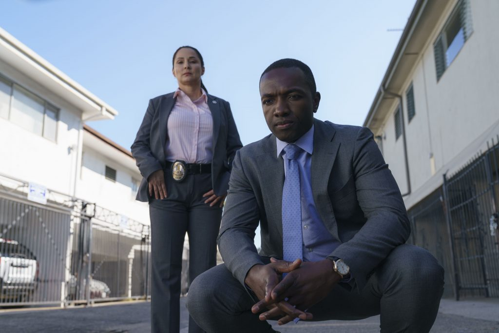 Amy Aquino and Jamie Hector in Bosch